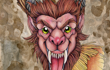 Krampus | 8.5x11 | Higgins Ink | Micron Pens | Winsor & Newton Watercolors | Poloychromos Colored Pencils